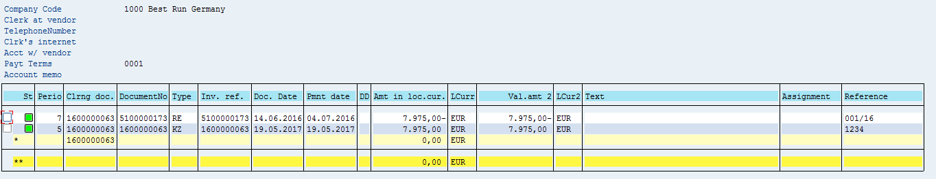SAP Vendor Open Items – After Manual Payment