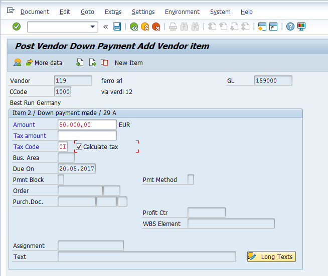 Post Vendor Down Payment – Items Input