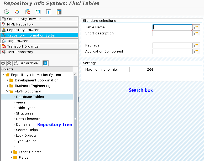 Searching Objects in Repository Information System with the Help of Search Box