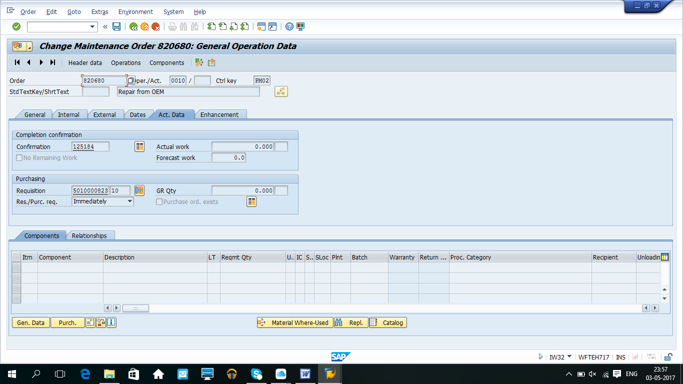 Purchase Requisition Number on Actual Data Tab
