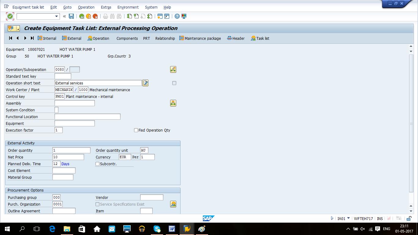 Create Equipment Task List - External Operation Details