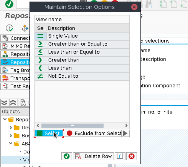Maintain Selection Options Allows Customizing the Query