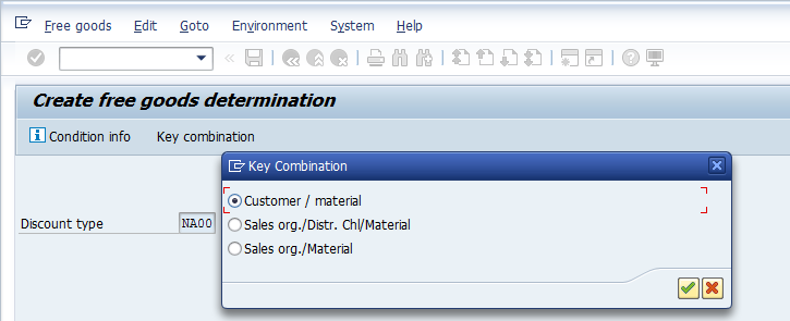 SAP Free Goods Master Record – Select Key Combination
