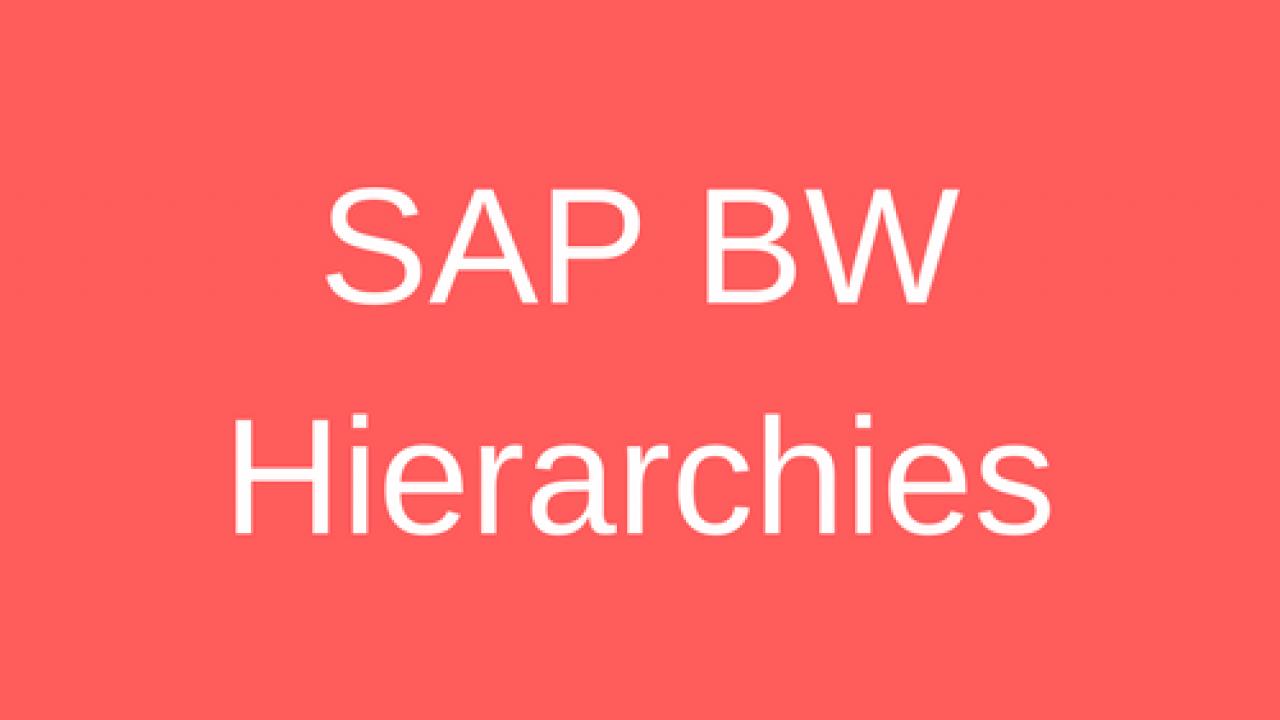SAP BW Hierarchy Tutorial - Free SAP BW Training