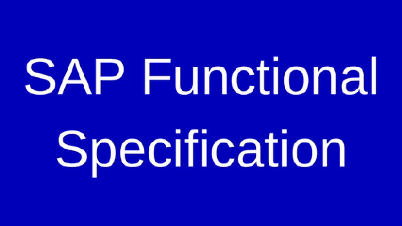 Sap sd function specification sample | specification (technical.