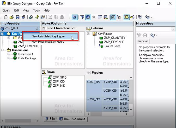 Selecting New Calculated Key Figure Option