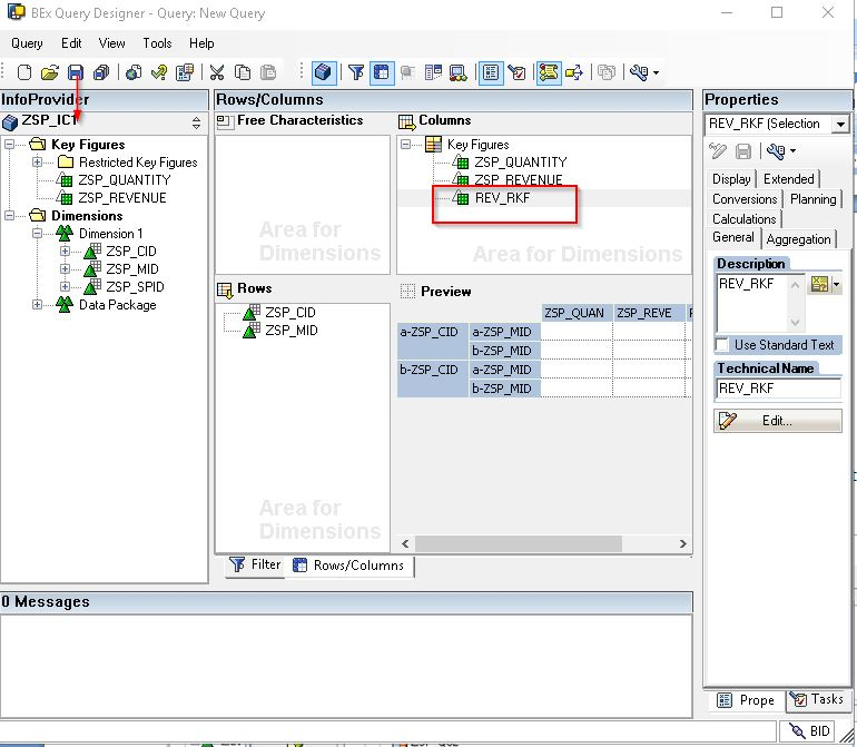 SAP Restricted Key Figure REV_RKF and Saving the Query