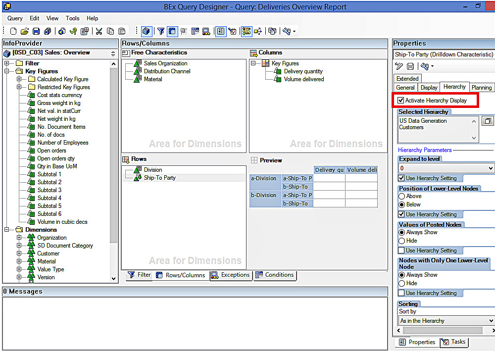 Selecting SAP BW Hierarchy