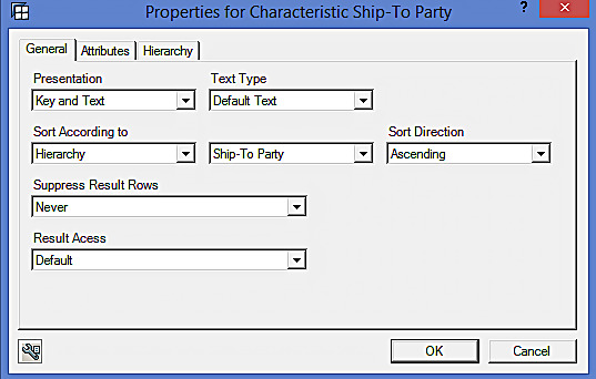 Properties of Ship-To Party Characteristic
