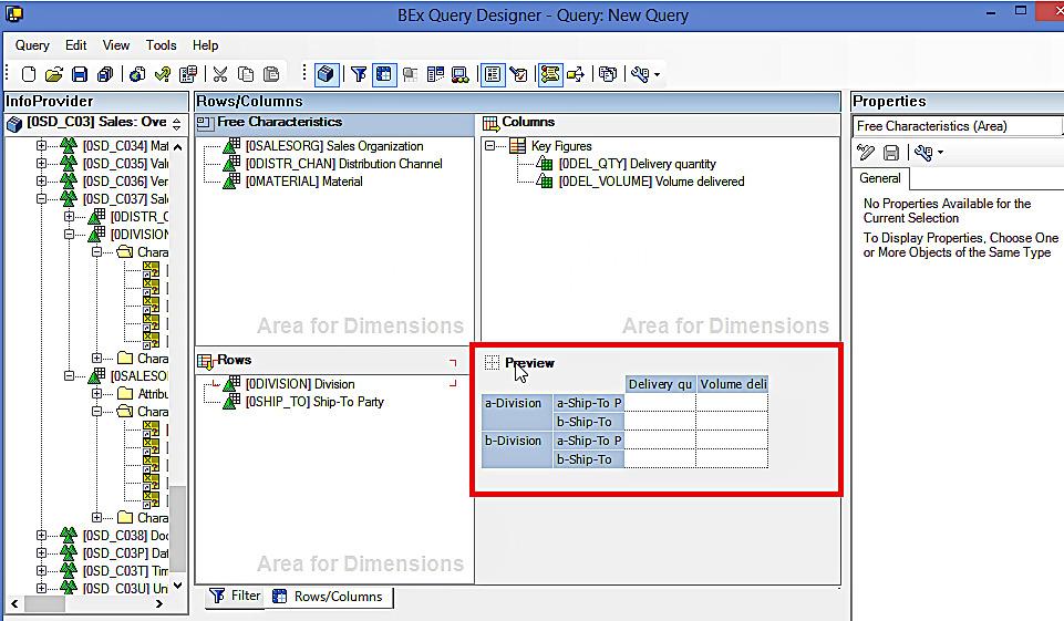 Preview: SAP BEx Query Designer