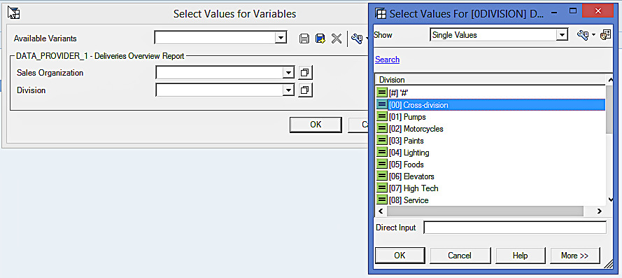 Select Values for Variables in BEx Analyzer