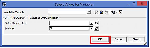 Select Values for Variables in BEx Analyzer – OK Button