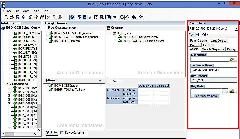 Properties: SAP BEx Query Designer