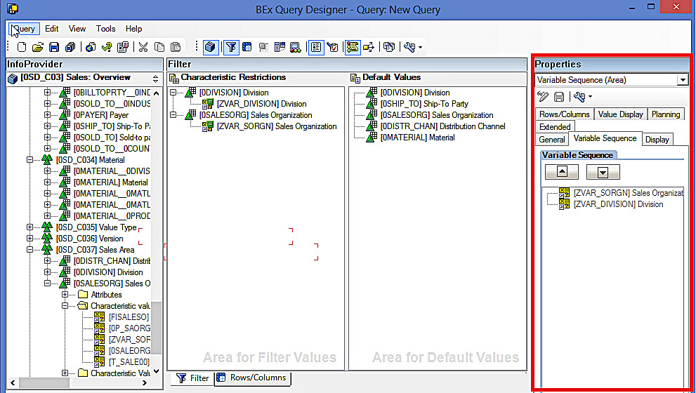 Variable Sequence: SAP BEx Query Designer