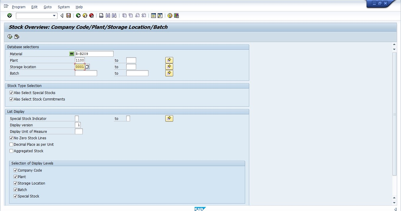 SAP MMBE - Database Selections Sample Input