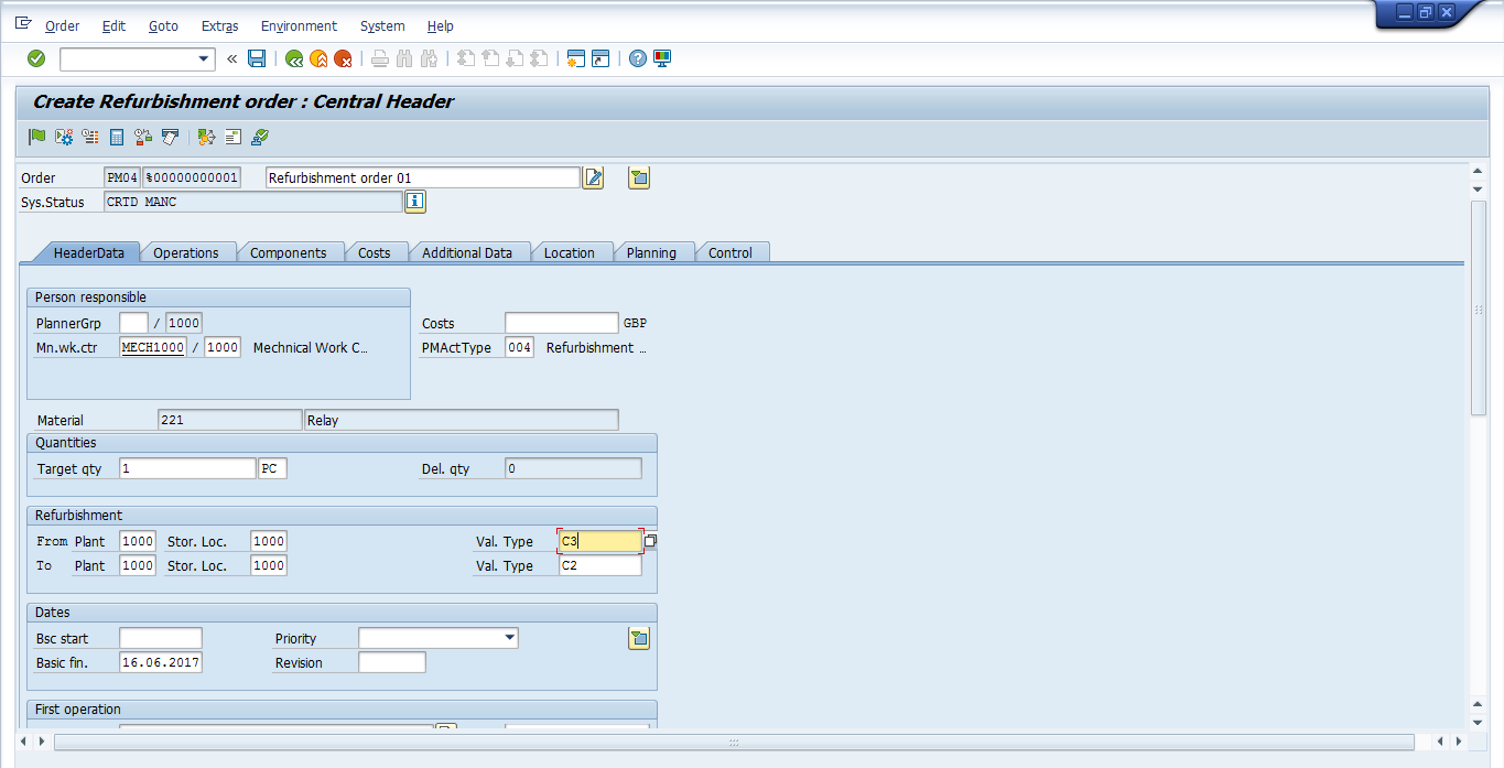 Create SAP Refurbishment Order - Header Screen