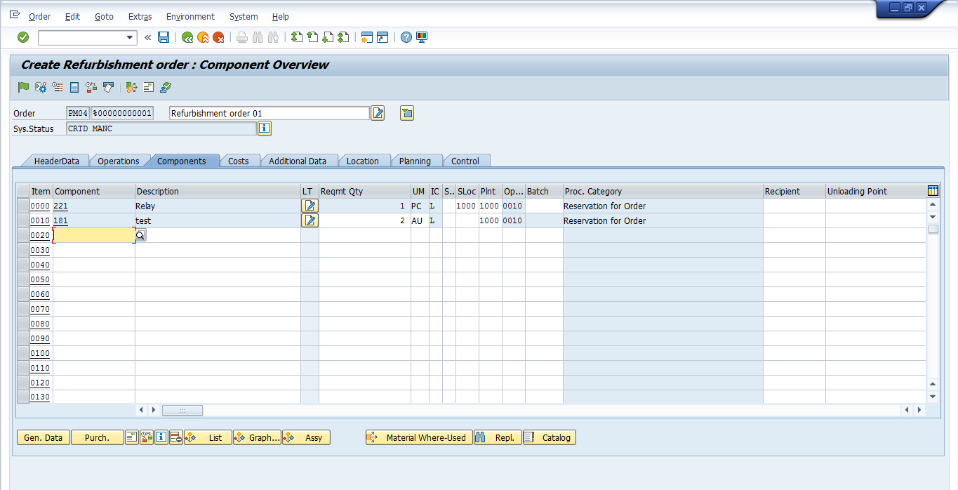 how to create work order in sap pm