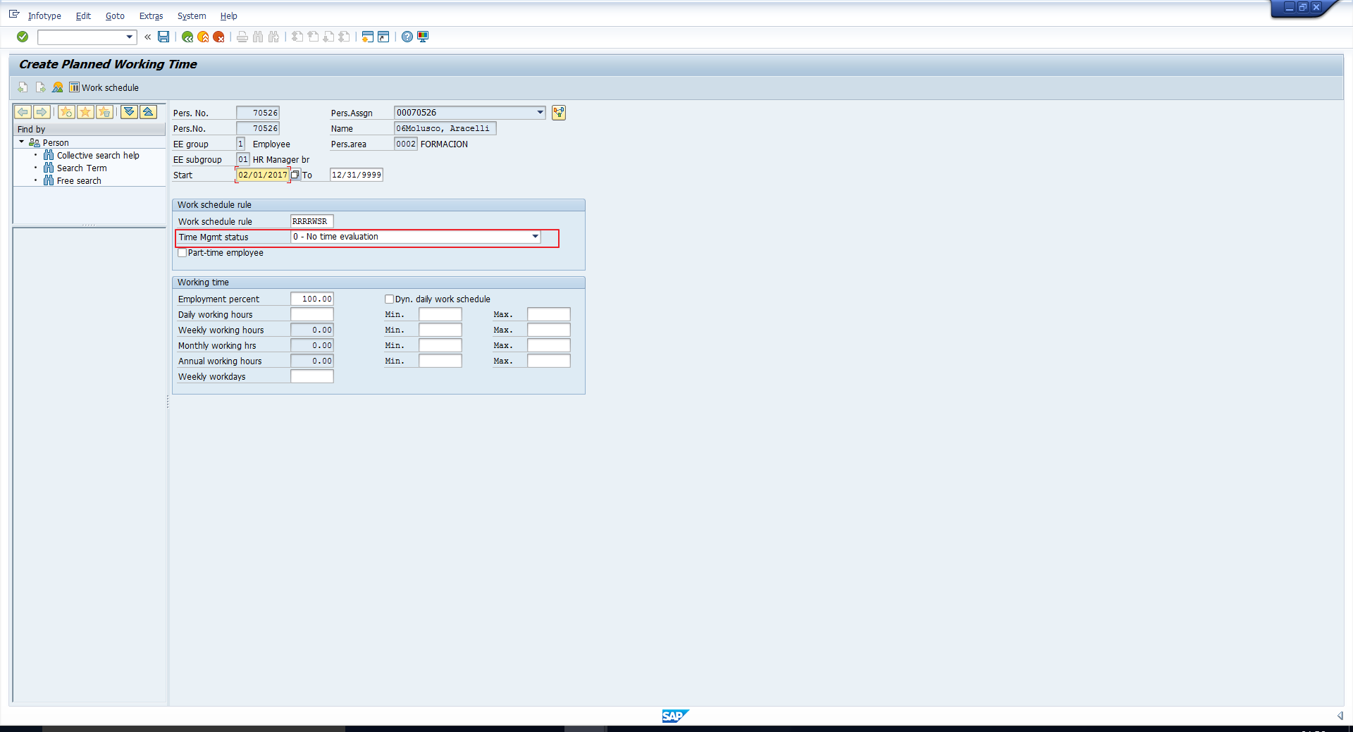 Transaction Code PA30 -Time Management Status Defaulted Correctly