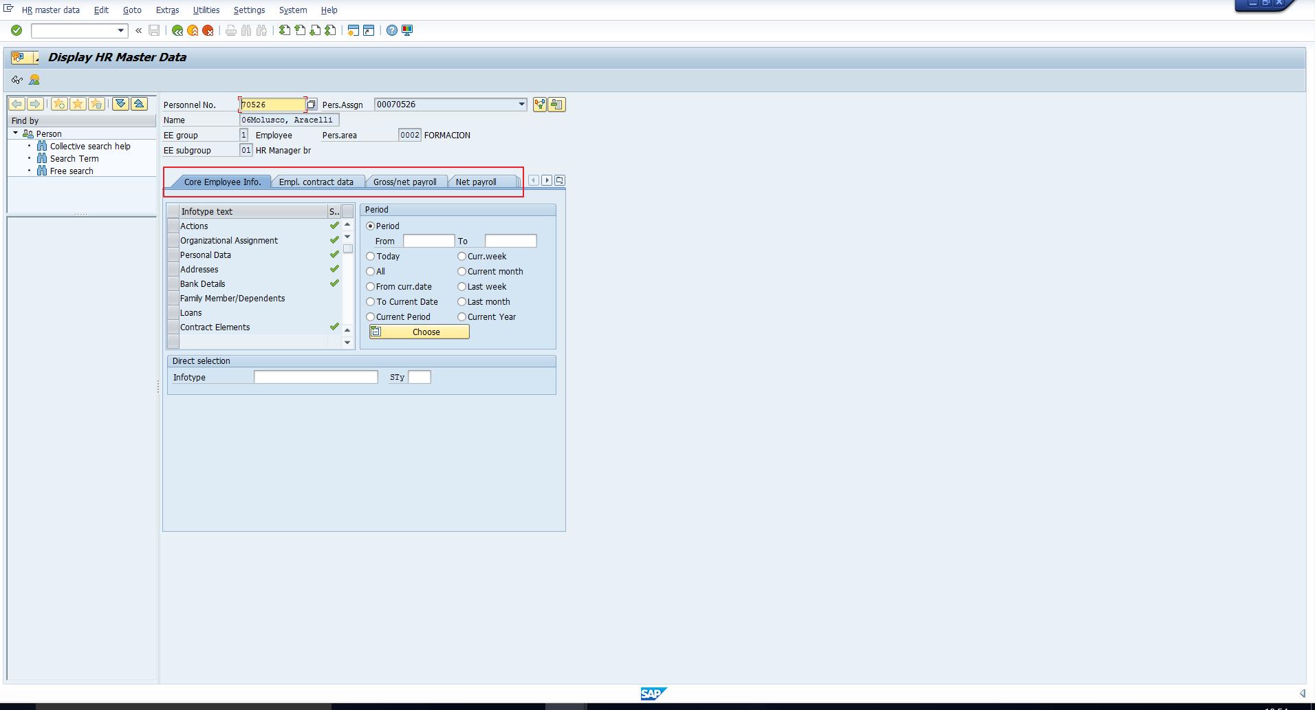 PA20 - SAP Infotype Menus