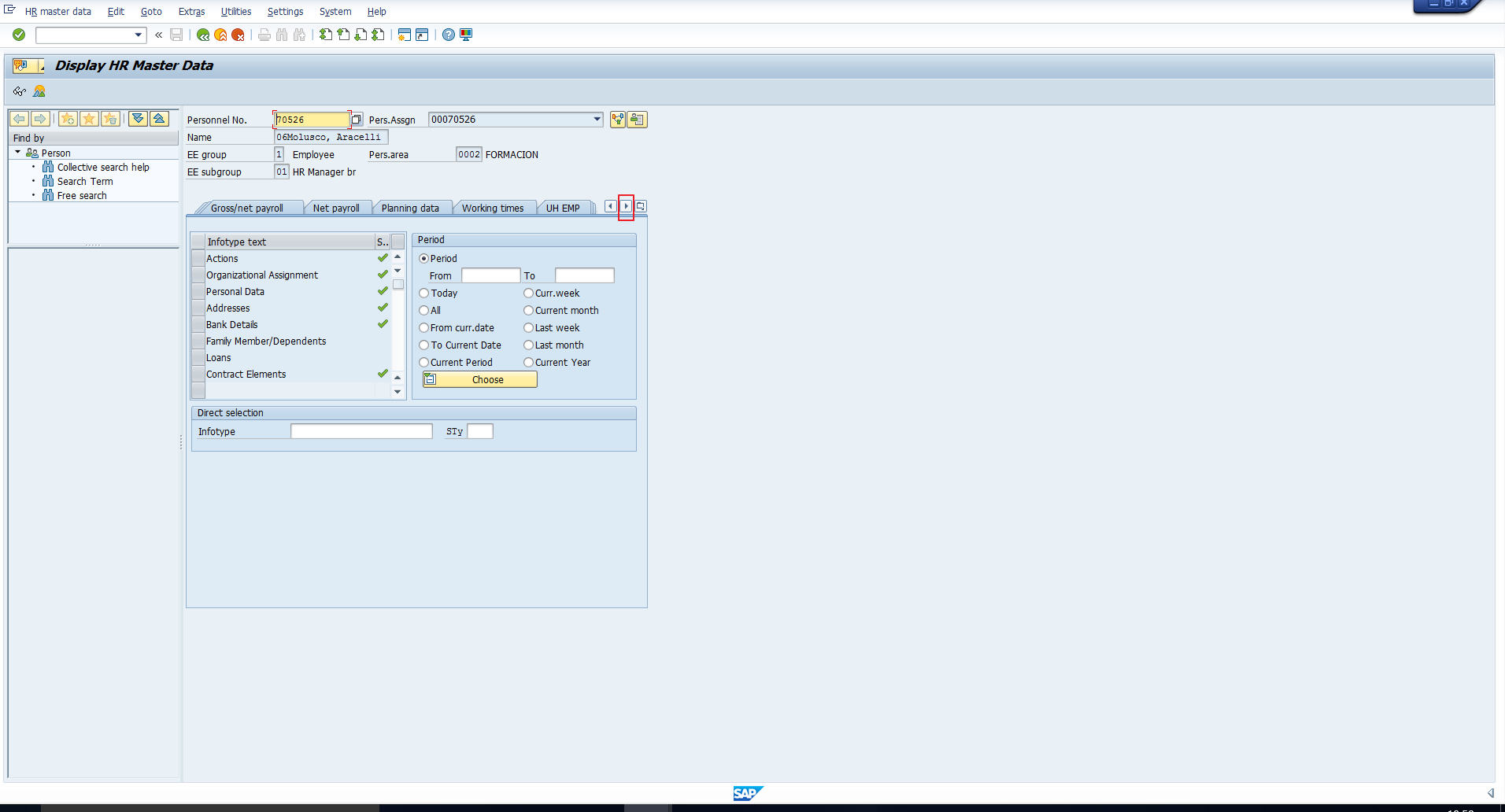 SAP Infotype Menus – Scroll Right