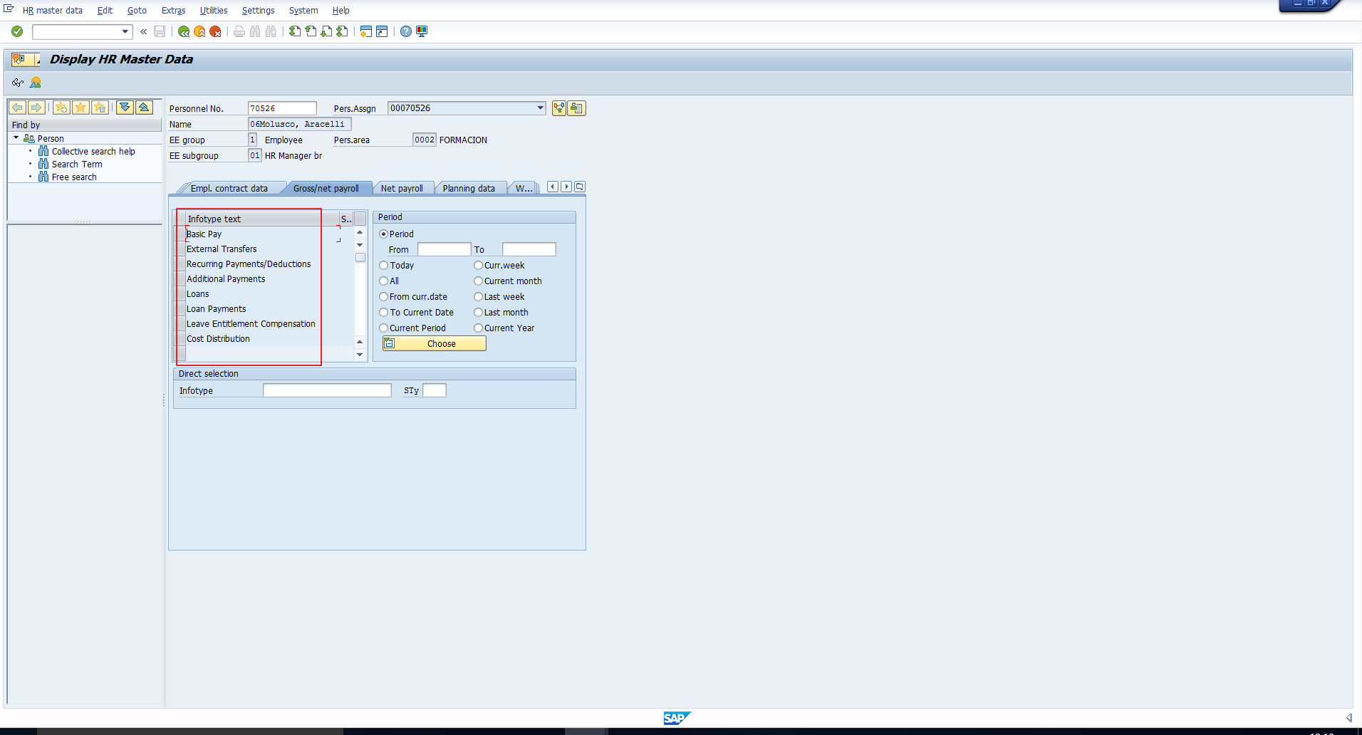 Infotypes in SAP Infotype Menu