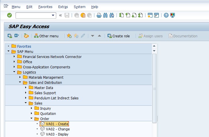 SAP Easy Access Menu - Create Sales Order
