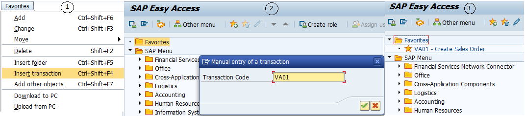 Adding Favorites Using Transaction Code