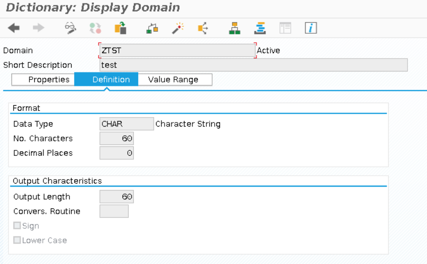 Display Domain in Dictionary - Definition