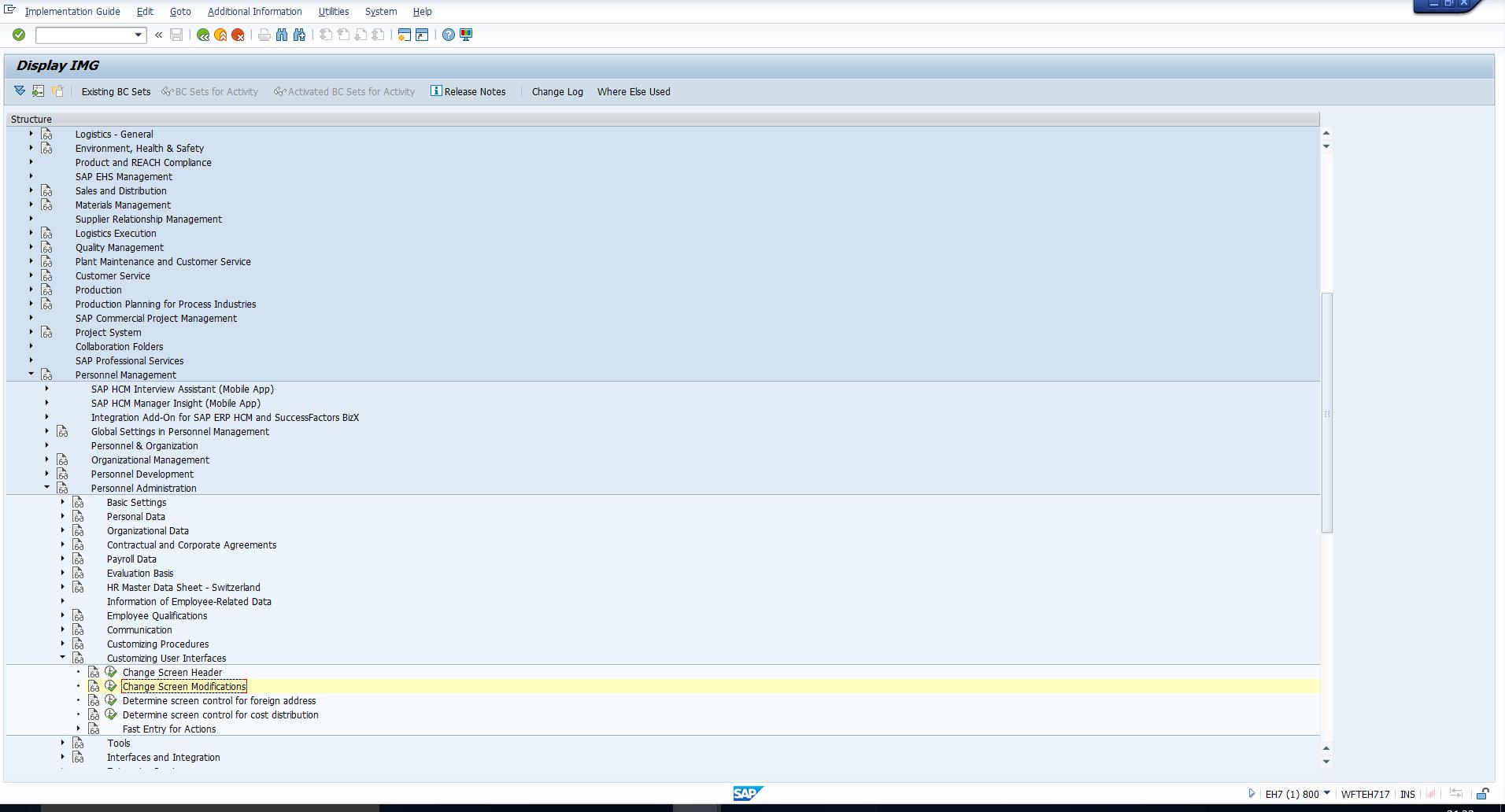 Customizing Path - Change Screen Modifications