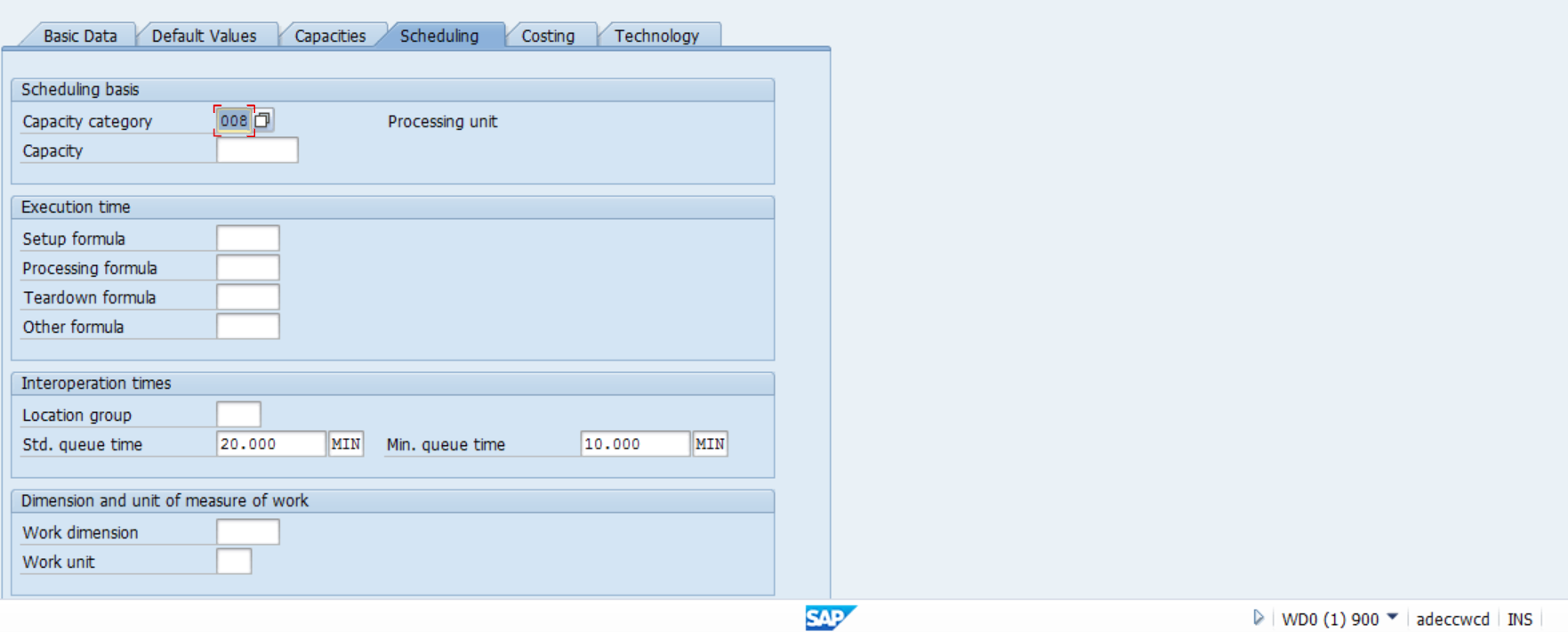 Standard and Minimum Queue Times in SAP Work Center