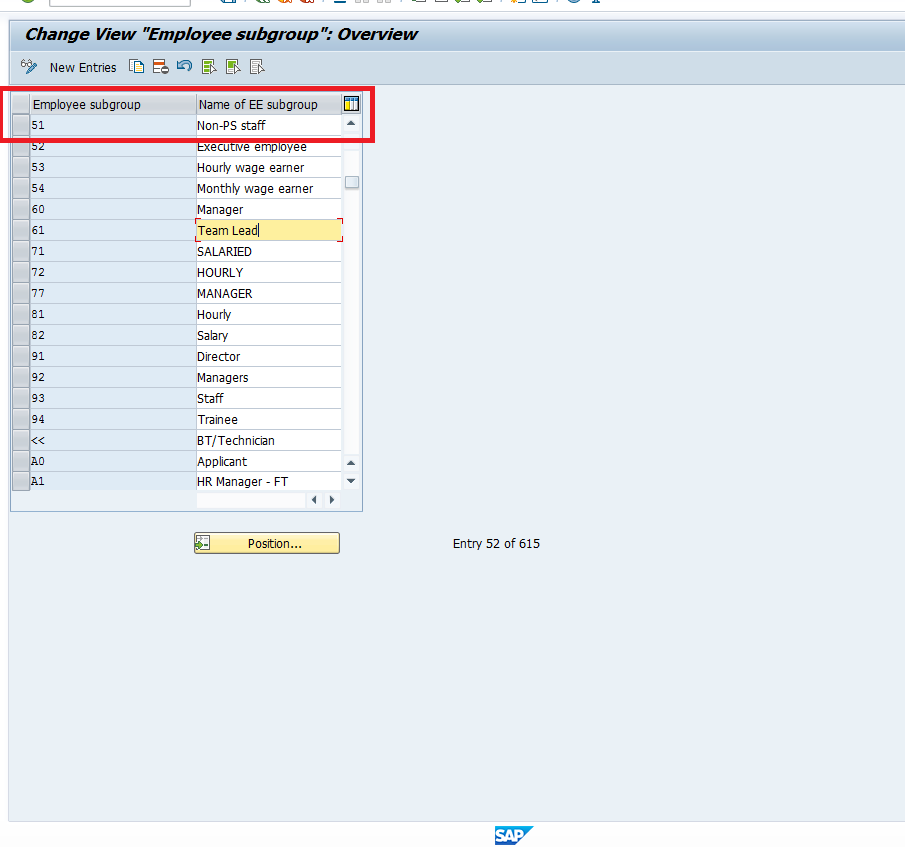 Create Employee Subgroup Screen