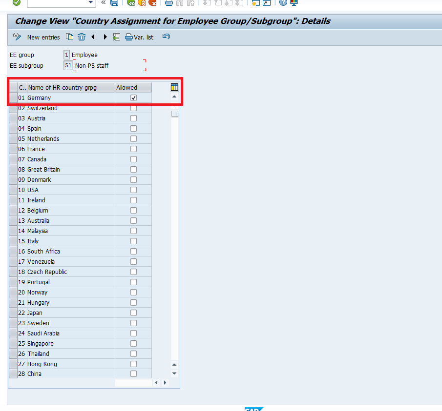 Detailed view of Employee Group and Subgroup Country Assignment