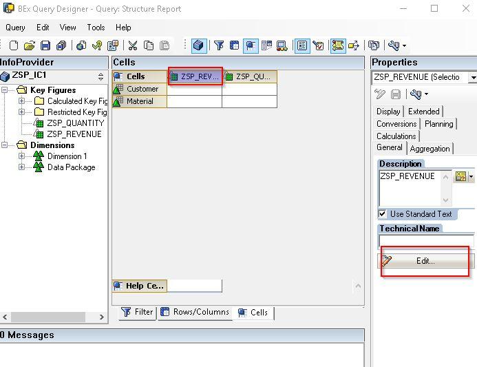 Choosing Edit for Revenue Cell