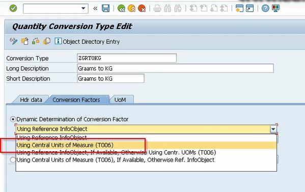Selecting Conversion Factors Tab