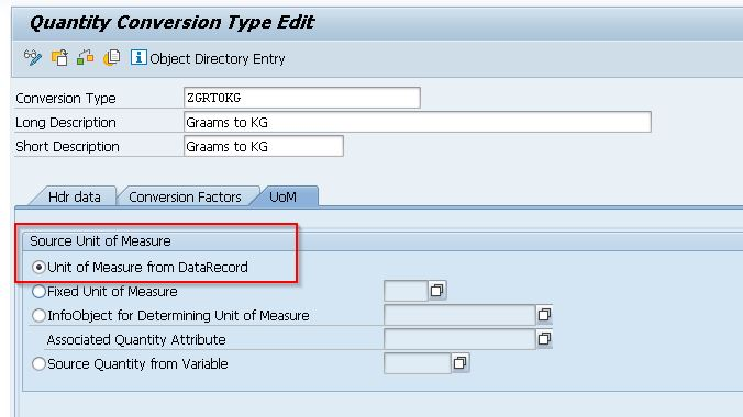 Selecting Source Unit of Measure