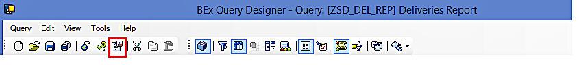 Query Designer: Toolbar (Properties)