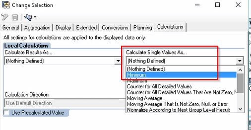 Calculations Tab Properties