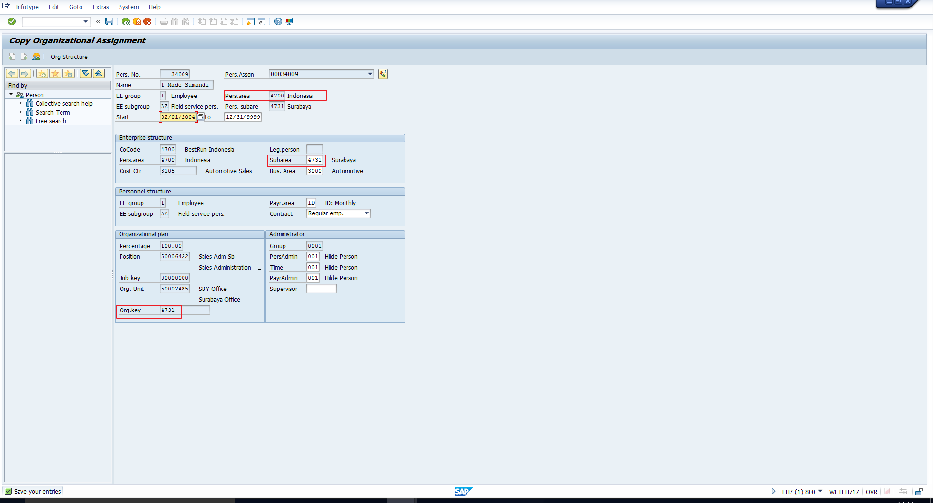 Figure 11: SAP Organizational Key Correctly Defaulted for Employee in Indonesia