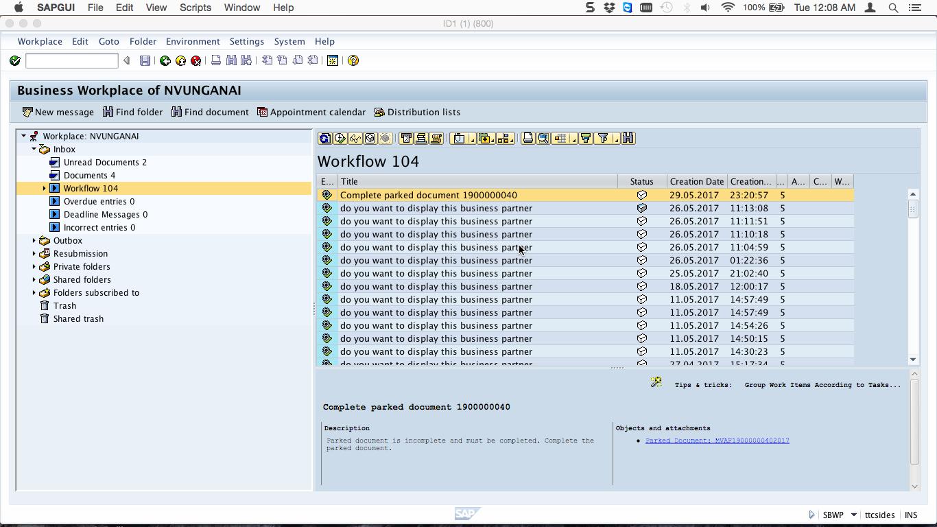 SAP Inbox