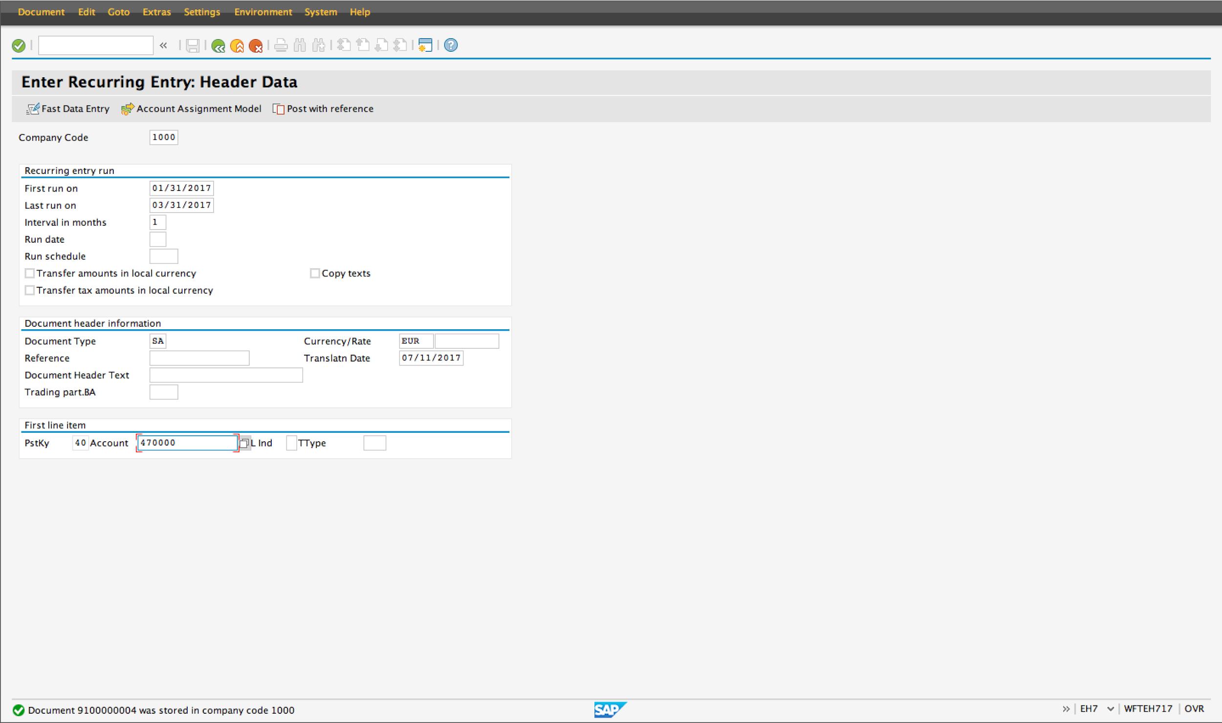 Enter Recurring Document Header Data