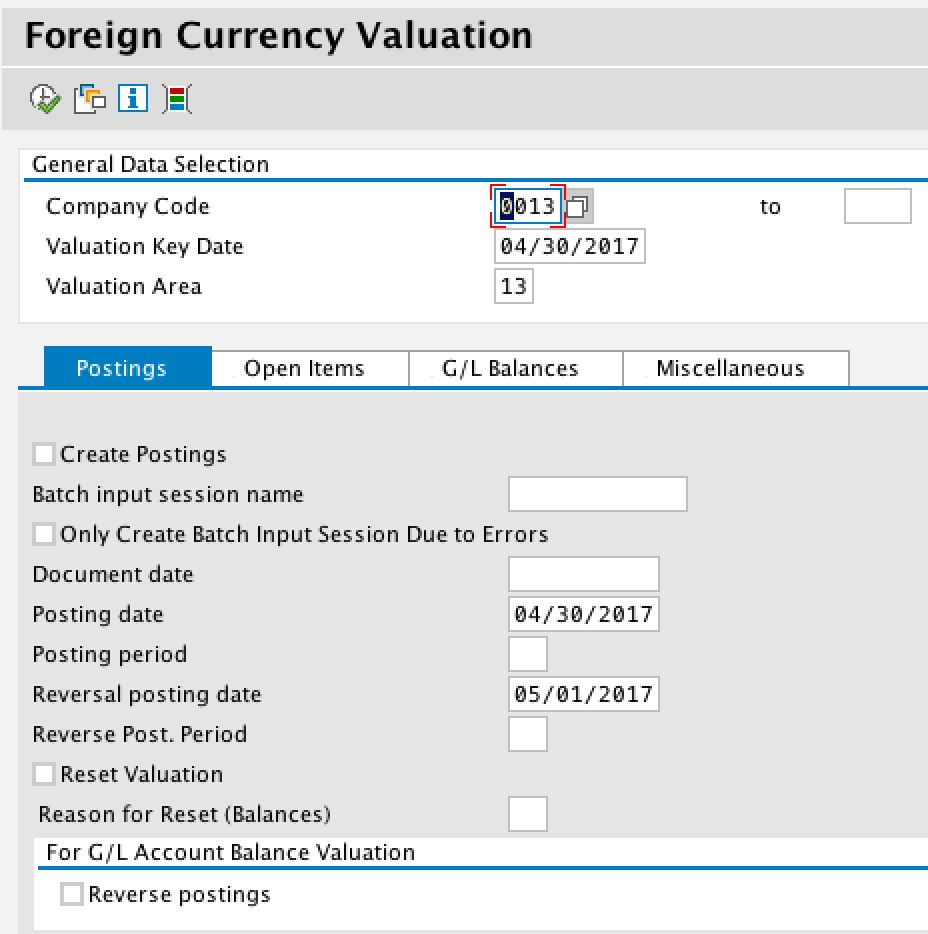 Foreign Currency Valuation Initial Screen