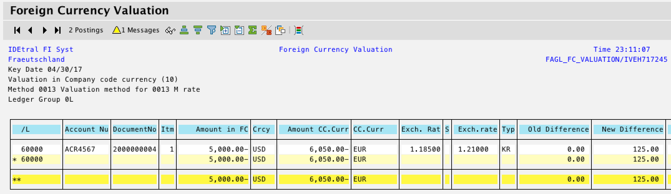 Foreign Currency Valuation Results