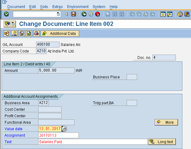 Change Document Line Item
