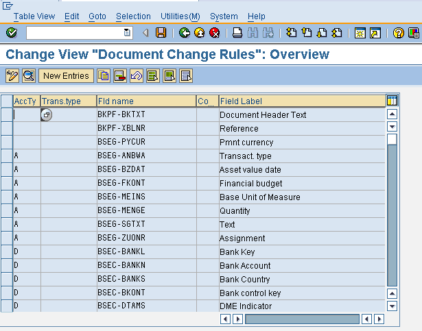 Document Change Rules Overview Screen