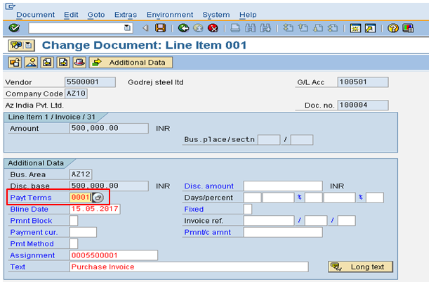 Modified Change Document Line Item Screen
