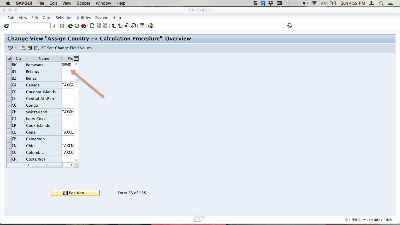 Assign Calculation Procedure to Country
