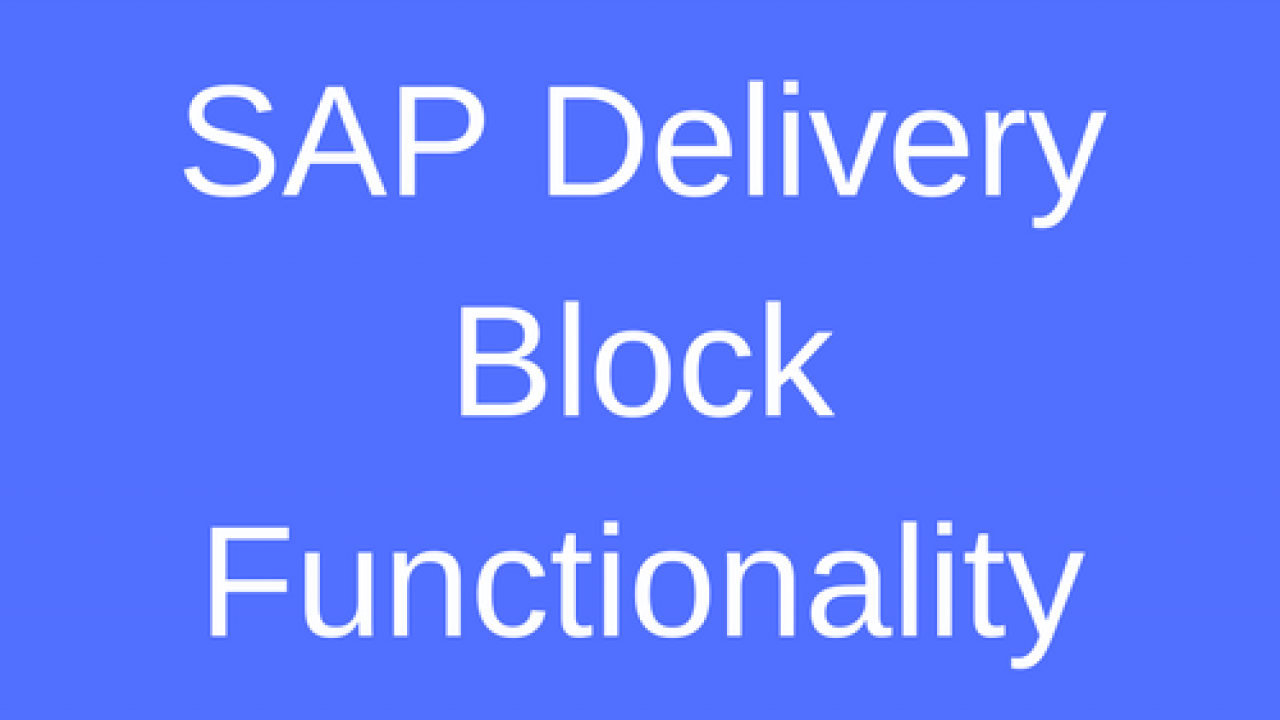 SAP Delivery Block Functionality Tutorial - Free SAP SD Training