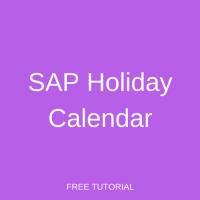 SAP Holiday Calendar