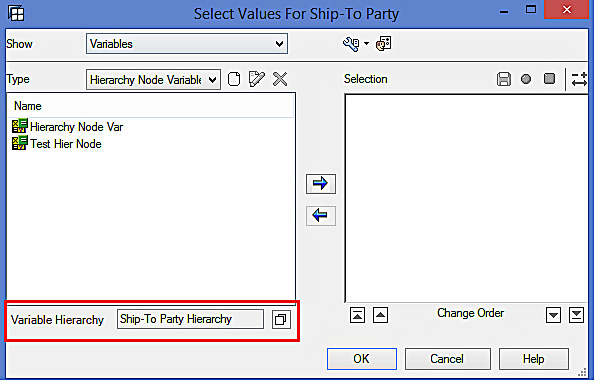 SAP BW Hierarchy Variable