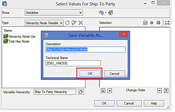 Saving the Hierarchy Node Variable